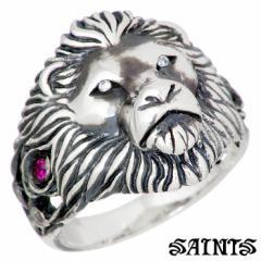 セインツ SAINTS シルバー リング 獅子王 メンズ ライオン ルビー サファイア キュービック 指輪 17〜21号 SSR-840 送料無料