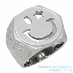 ステンレス リング 指輪 金属アレルギー対応 ハワイアンジュエリー スマイル 印台 レディース メンズ 7〜21号 アレルギーフリー サージカ