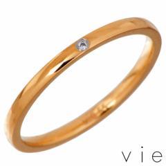 ヴィー vie ステンレス リング 一粒石 キュービック レディース 金属アレルギー対応 アレルギーフリー ピンク 指輪 7〜15号 シンプル お