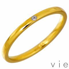 ヴィー vie ステンレス リング 一粒石 キュービック レディース 金属アレルギー対応 アレルギーフリー イエロー 指輪 7〜15号 シンプル
