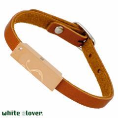 ホワイトクローバー white clover ステンレス ブレスレット レディース ダイヤモンド レザー アレルギーフリー サージカルステンレス316L