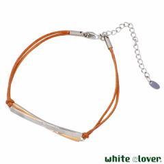 ホワイトクローバー white clover ステンレス ブレスレット レディース ダイヤモンド コードブレス クロス ピンク アレルギーフリー サー