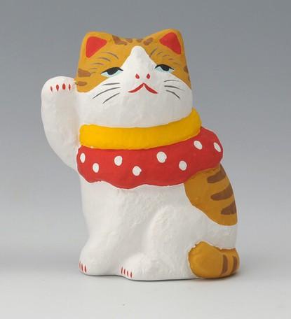 幸福を招く 楽しくお目出度い「縁起の置物」 おめかし猫(茶白/グレー ...