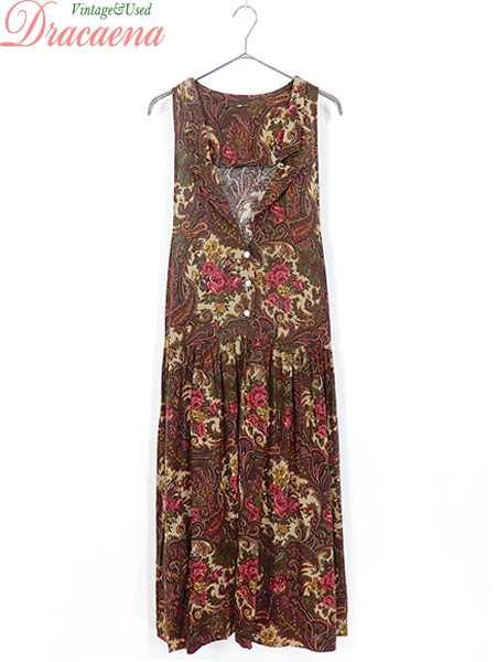 cc3d7a1d86a45 古着 レディース ワンピース 花柄 ペイズリー ガーリー バックリボン 装飾ボタン ブラウン ベージュ ノースリーブ ジャンパードレス