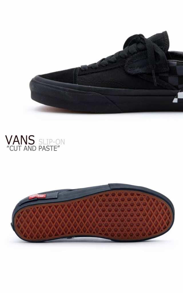 vans slip on cut and paste black