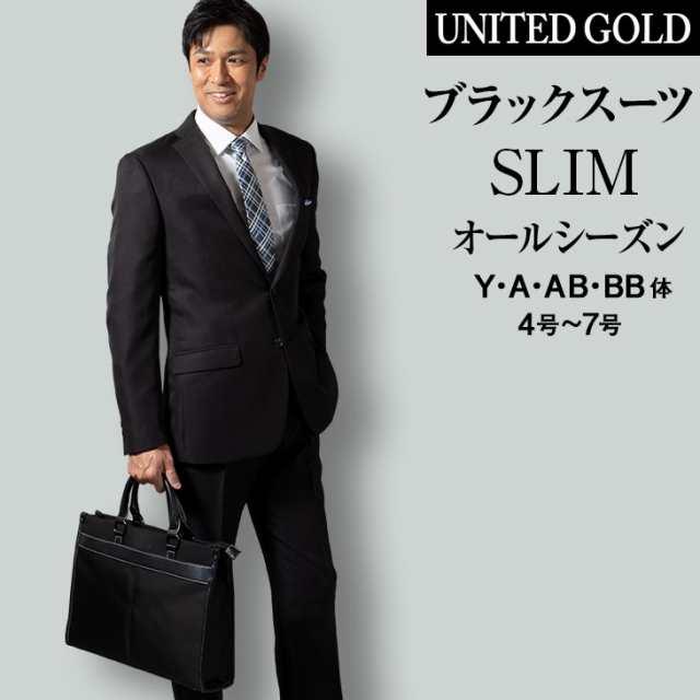 スーツ メンズ スリムスーツ ビジネス リクルート ブラックスーツ 黒 ...