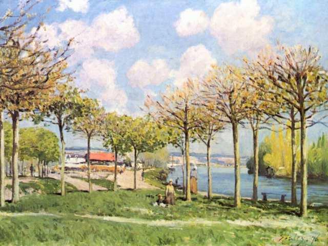 絵画風 壁紙ポスター アルフレッド・シスレー ブージヴァルのセーヌ河 ...