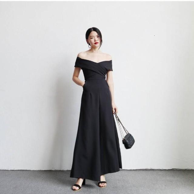 a5c13937aa97a パンツドレス パーティードレス パンツ 黒 かっこいいパンツドレス 結婚式 お呼ばれドレス 20代 30