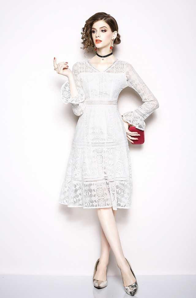 638c2883f916f 白レース パーティードレス ミモレ丈 袖あり 結婚式 ドレス お呼ばれ ワンピース 30代 20