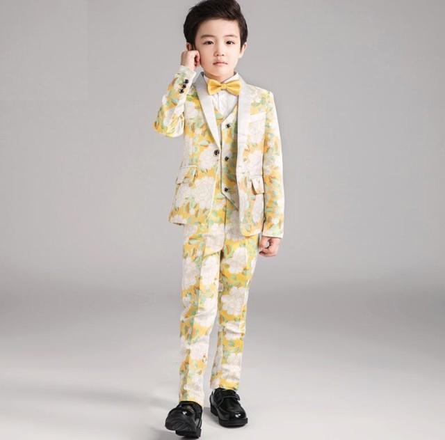 8f40ebd3db90a 上品 花柄 5点セット フォーマルスーツ キッズスーツ 男の子スーツ 子供スーツ ピアノ ジュニア