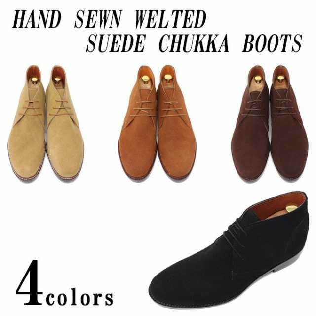 本革 メンズ スエードチャッカブーツ レザーソール革底 ビジネスシューズ デザート ブーツ ハンドソーンウェルテッド製法 紳士靴 靴|au Wowma!