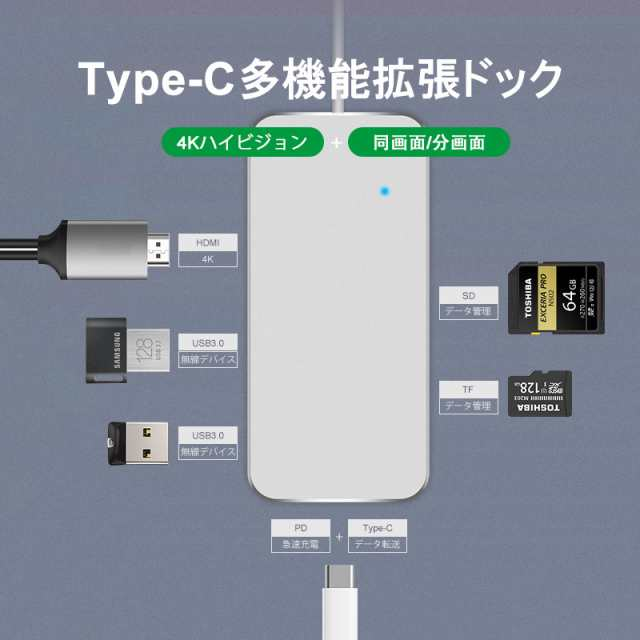 YJY ATT Type-C to USB3+TF SD+PD Adapter Cable