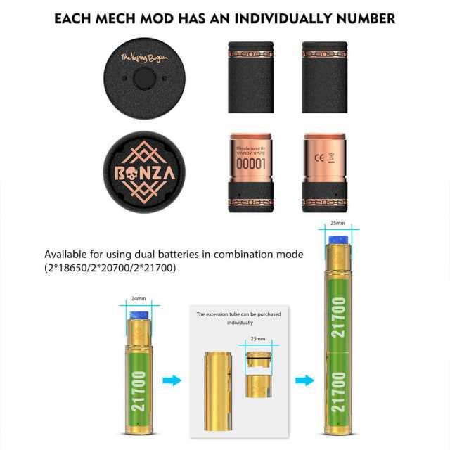 電子タバコ メカニカルMOD VANDYVAPE BONZA mech KIT リキッド式 爆煙 シングルバッテリー  18650/20700/21700バッテリー対応 ハイブリッ|au Wowma!