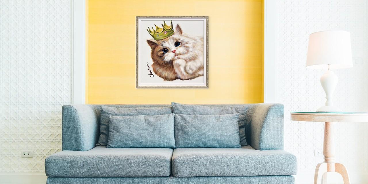 絵画 壁掛け 絵 インテリア 油絵 アート 額入り 動物 アート オイルペイントアート キングキャット Mサイズ ネコ 猫
