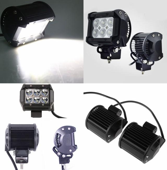 車載用 18W LEDライト 2個セット 広角LEDライト 30度/60度 ジープ 乗用車 RVR 四駆車 10-30V対応 カー用品 ◇WM-9018B