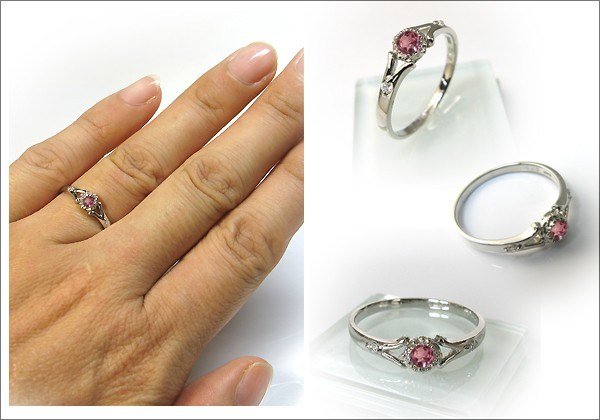 婚約指輪・18金・リング・ピンクトルマリン・エンゲージリング