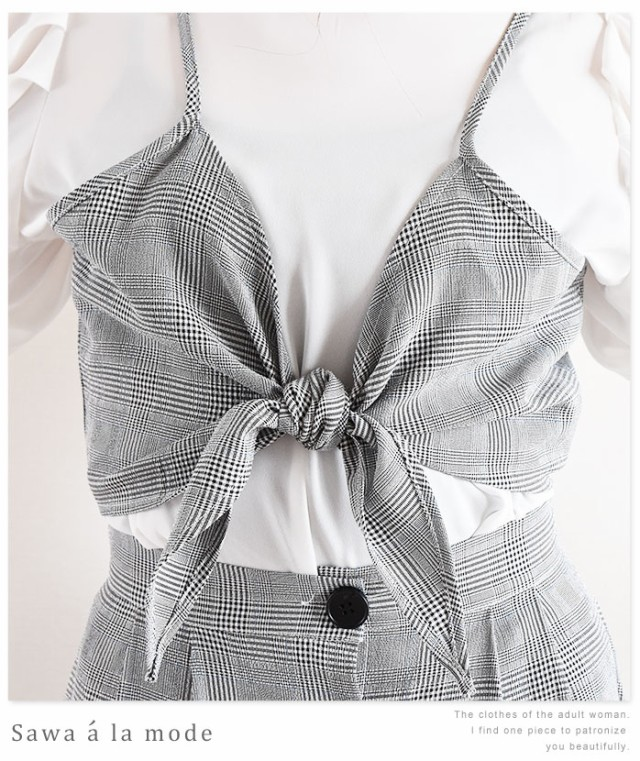 半袖インナー付きリボンが可愛いグレンチェックワンピース【6月5日8時販売新作】