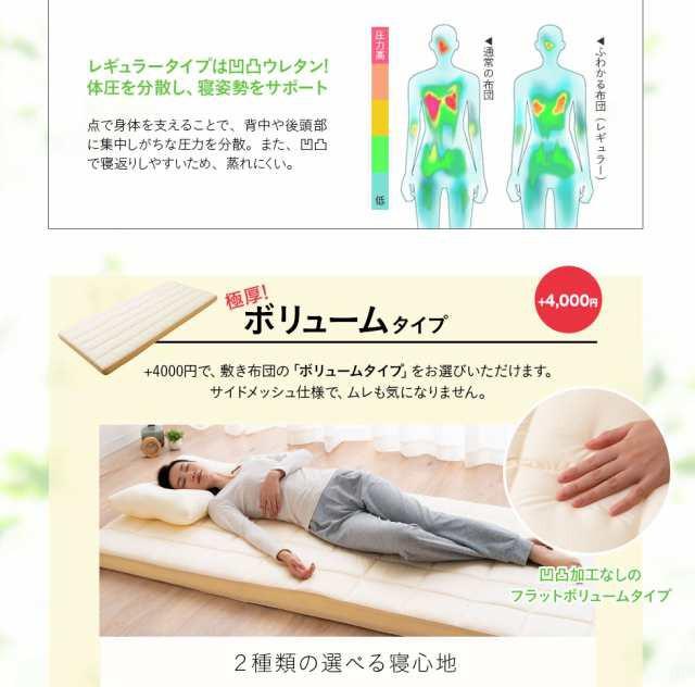レギュラータイプは凹凸ウレタン。体圧を分散し、寝姿勢をサポート