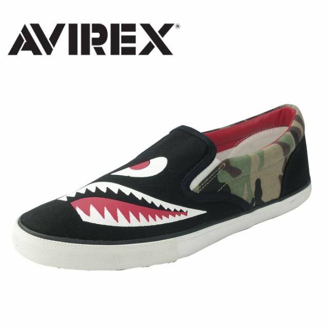 AVIREX アビレックス AV3526 シャークマウス スニーカー スリッポン メンズ BLACK ブラック SHARK MOUTH 正規品 アヴィレックス 送料無料