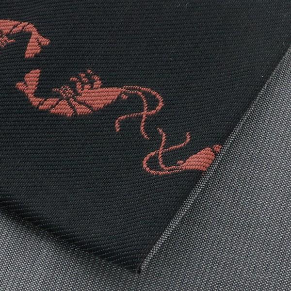 角帯 桐生織 「海老 黒」 日本製 ハーフシルク 男着物 男浴衣 帯 メンズ 男 男性帯