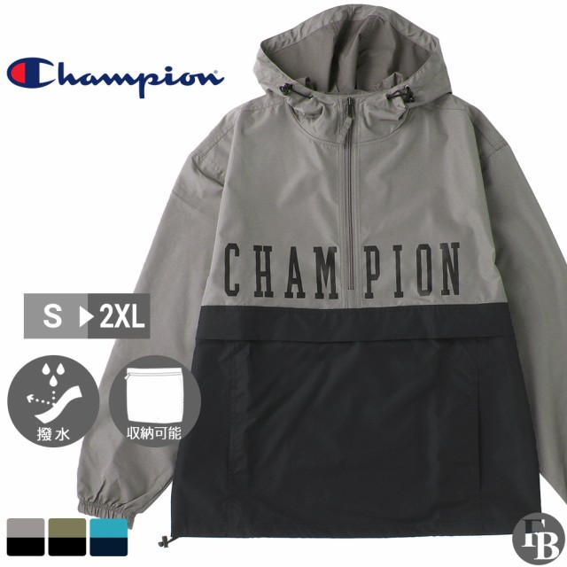 Champion チャンピオン ナイロンジャケット メンズ パッカブルジャケット アノラック パーカー プルオーバー ハーフジップ 撥水 [Colorblock Packable Jacket, Block Logo] (champion-v1016-586217)
