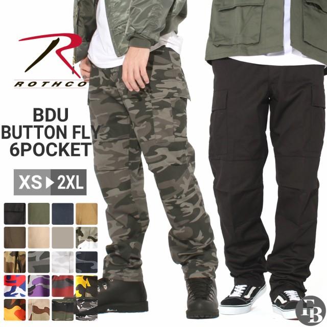 ロスコ カーゴパンツ ボタンフライ ゆったり メンズ 大きいサイズ USAモデル 米軍 ミリタリー 迷彩