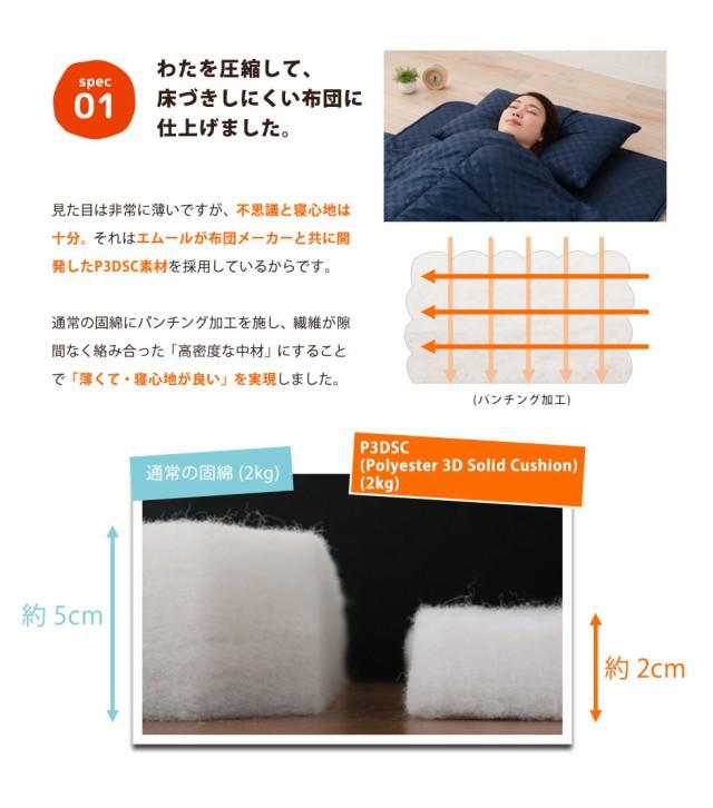わたを圧縮して、床付きしにくい布団に仕上げました。通常の固綿パンチング加工を施し、繊維が隙間なく絡み合った「高密度な中材」にすることで「薄くて寝心地がいい」を実現しました。