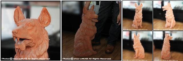 ガーデンオブジェ イタリア製 老舗テラコッタメーカー ヴァセリエ トスカーナ 動物置物 牧羊犬 シェパード 番犬