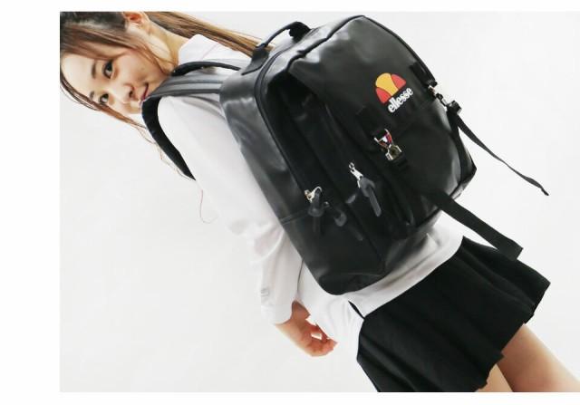 送料無料 ellesse エレッセ リュック レディース かわいい バックパック 大容量 デイパック 通勤 通学 A4 フェイク レザー おしゃれ 人気 ブランド 高校生 大人 サイドファスナー メタルバックル 黒 白 カジュアル 鞄 バッグ レディースファッション