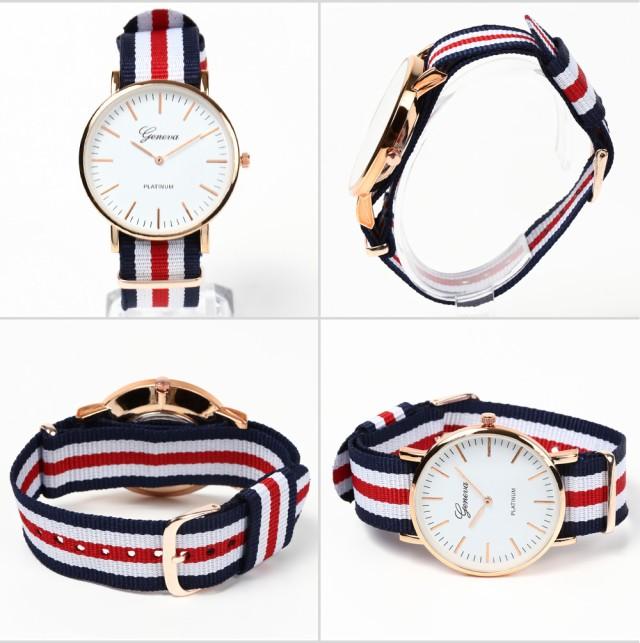 腕時計 レディース メンズ ファッション アクセサリー 雑貨 ブレスレット 男女兼用 ナイロンベルト NATO ストライプ リボンベルト