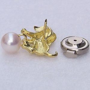 あこや本真珠:パール:K18:ゴールド:タイニーピン:ピンブローチ:ピンクホワイト系:ダイヤモンド:0.01ct:ドッグ