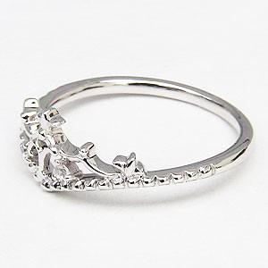ピンキーリング ダイヤモンドリング ティアラリング 王冠 ダイヤモンド K18WG ホワイトゴールド 指輪 ダイヤ 0.02ct