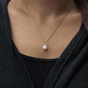 アコヤ本真珠:K18WG:ホワイトゴールド/K18ゴールド:ペンダント:セット:ネックレス:8mm:ピンクホワイト系:K18WG:ホワイトゴールド:40cmチェーン付き