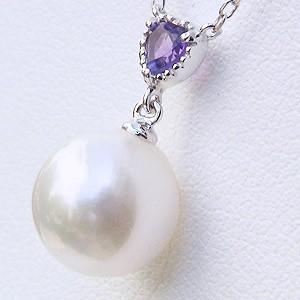 あこや本真珠:ペンダントネックレス:パール:8.5mm:ピンクホワイト系:K10WG:ホワイトゴールド:2月誕生石:アメジスト:ハートカット