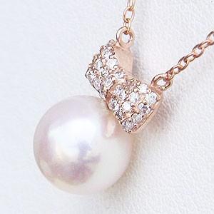 リボンモチーフ パール ペンダント ネックレス 本真珠 8mm ダイヤモンド 0.15ct K18 ピンクゴールド