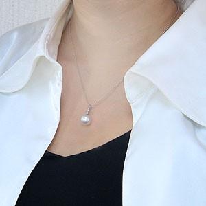 真珠:パール:南洋白蝶真珠:10mm:ピンクホワイト系:ペンダントトップ:プラチナ:PT900:ダイヤモンド:0.07ct