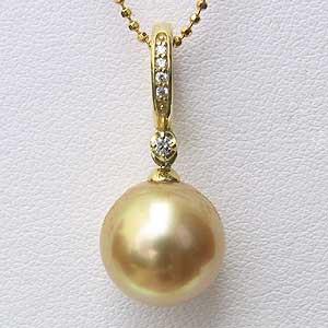 南洋白蝶真珠:ペンダントトップ:約11mm:ゴールド系:K18