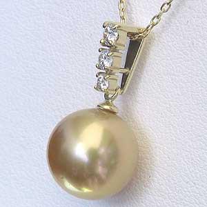 パールペンダントトップ 真珠 パール 南洋白蝶真珠 ゴールド系 径11mm ダイヤモンド 3石 計0.20ct K18 ゴールド ペンダント