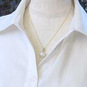 パールペンダントトップ 真珠 パール 南洋白蝶真珠 ホワイトピンク系 径11mm ダイヤモンド 3石 計0.20ct K18 ゴールド ペンダント