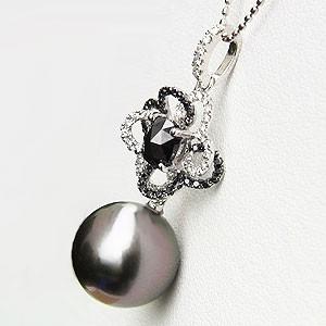 真珠:パール:ペンダントトップ:タヒチ黒蝶真珠:ブラックパール:12mm:黒真珠:ホワイトゴールド:ブラックダイヤモンド