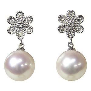 真珠 パール 6月誕生石  ピアス あこや本真珠 PT900 プラチナ 真珠の径8mm ピンクホワイト系 ダイヤモンド 14石 0.06ct  花 ピアス