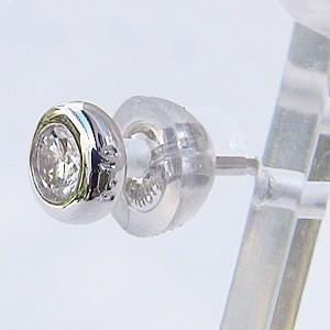 ダイヤモンド ピアス K18WG ホワイトゴールド シリコンキャッチ付き 片耳用ピアス