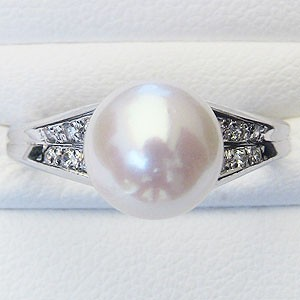 真珠:パール:リング:あこや本真珠:指輪:ピンクホワイト系:8.5mm:プラチナ:PT900:ダイヤモンド:0.09ct