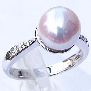 真珠:パール:リング:あこや本真珠:ピンクホワイト系:9mm:PT900:プラチナ:ダイヤモンド:0.07ct:指輪