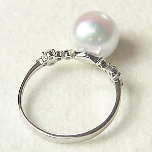 リング パール 指輪 あこや真珠パール ホワイトゴールド リング ダイヤモンド