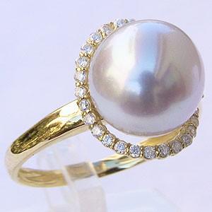 パール:南洋白蝶真珠:ダイヤモンド0.20ct:K18:ゴールド:リング:ピンクホワイト系:10mm:ラウンド形