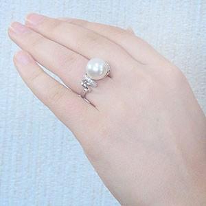 真珠:パール:リング:南洋白蝶真珠:12mm:ピンクホワイト系:ダイヤモンド:0.16ct:K18WG:ホワイトゴールド:指輪
