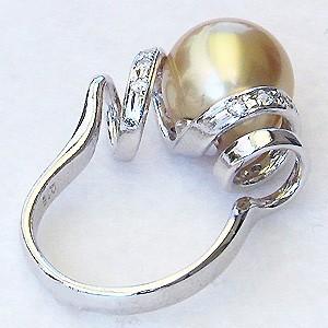 真珠:パール:リング:南洋白蝶真珠:11mm:ゴールド系:
