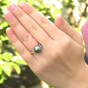 パール:タヒチ黒蝶真珠:指輪:ダイヤモンド0.04ct:PT900:
