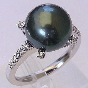 パール:タヒチ黒蝶真珠:指輪:ダイヤモンド0.18ct:PT900: